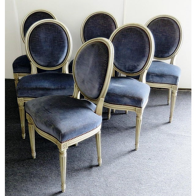 Vintage Mid Century Louis XVI Style Dining Chairs- Set of 6 For Sale - Image 9 of 9