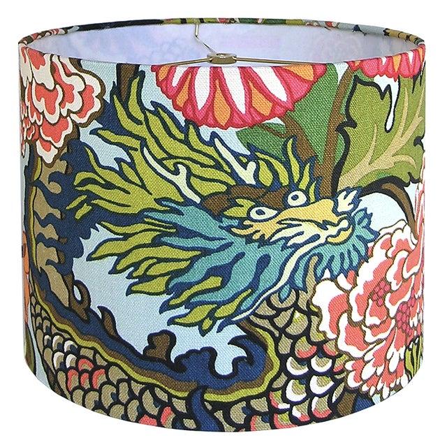 Aquamarine Chiang Mai Dragon Drum Shade For Sale - Image 4 of 7