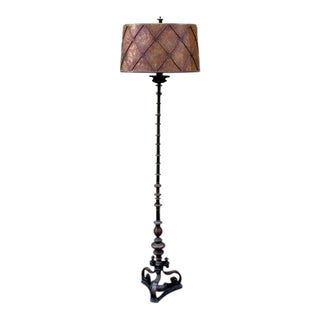 Vintage Bronze Floor Lamp With Mica Shade For Sale