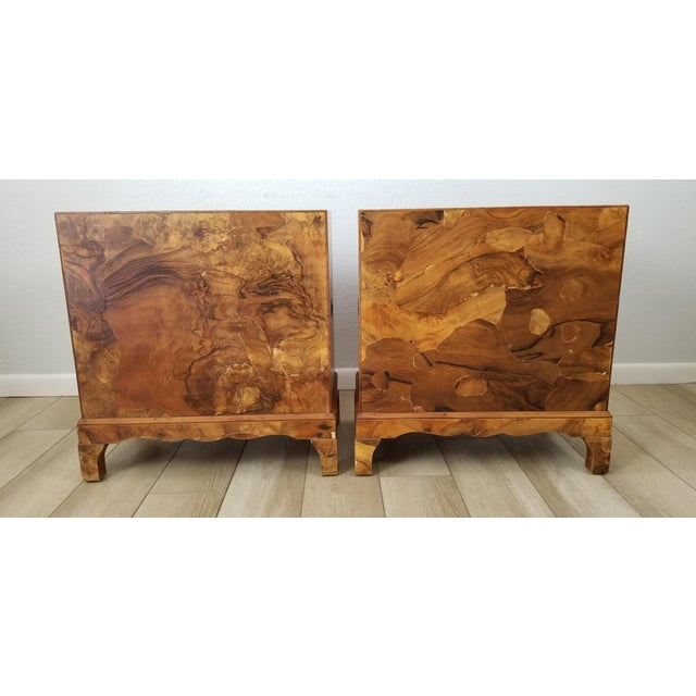 Wood Italian Campaign Style Burlwood Patch Chest / Nightstands - a Pair For Sale - Image 7 of 13