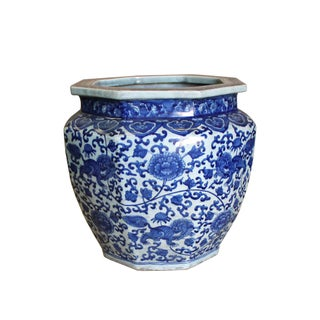 Chinese Blue White Foo Dogs Flower Porcelain Octagon Pot Vase Preview