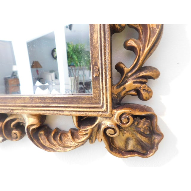 Gold Vintage Baroque Style Gold Leaf Beveled Wall Mirror For Sale - Image 8 of 11