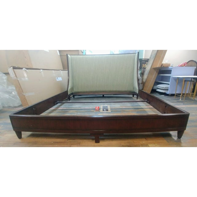 Henredon Furniture Barbara Barry Graceful Walnut Upholstered King Platform/Low Profile Bed For Sale In Charlotte - Image 6 of 13