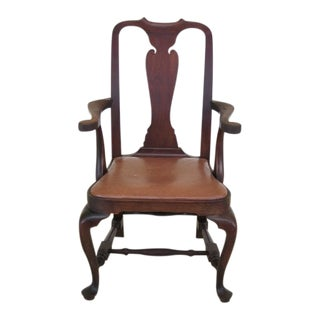 Wallace Nutting Block Signed Walnut Armchair