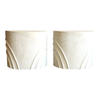 1980s Hollywood Regency White Plaster Pedestal Table Bases - a Pair