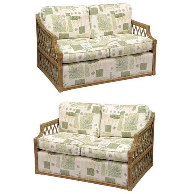 Boho Chic Single Rattan and Upholstered Settees in the Manner of Mcguire For Sale - Image 3 of 3