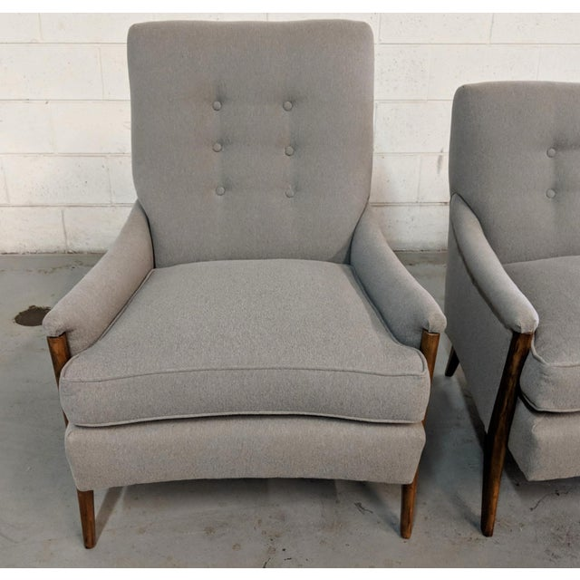 Restored Kroehler Mid-Century Modern Gray Wool Walnut Lounge Chairs - a Pair For Sale - Image 11 of 13