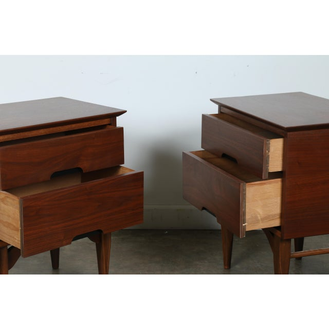 Mid-Century Walnut Nightstands - A Pair - Image 6 of 11