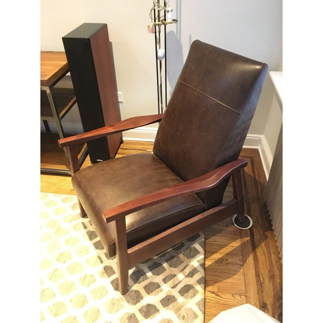 Mid-Century Modern Arhaus Wordsmith Leather Recliner For Sale - Image 3 of 10