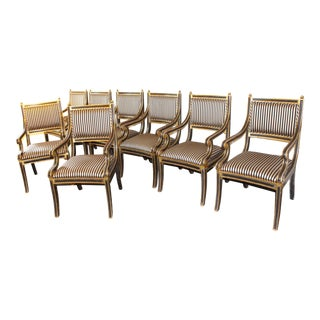 Mid-Century Regency Style Custom Hollywood Dining Chairs - a Set of 8 For Sale