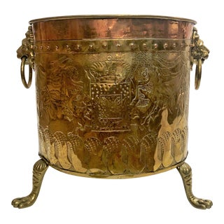 "Antique English Rare Design ""Armorial"" Brass and Copper Log Bin, Circa 1820-1840. (Shown Here as a Jardiniere Also) For Sale"