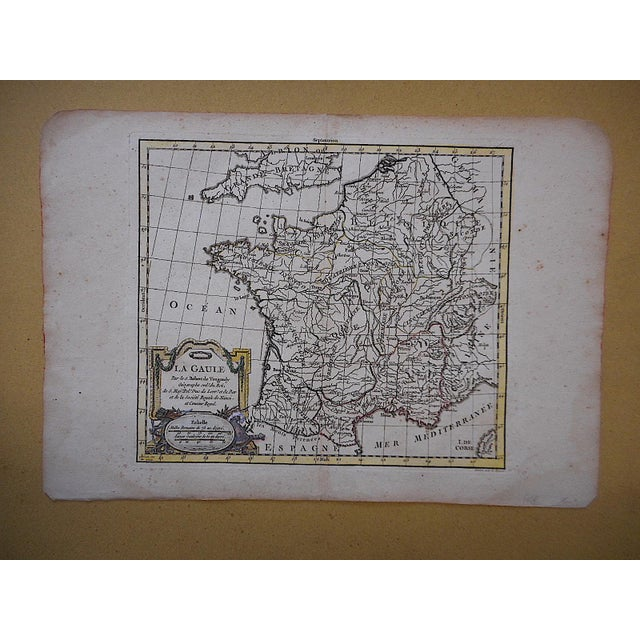 Illustration Antique 18th C. Map-France (Gaul) For Sale - Image 3 of 3