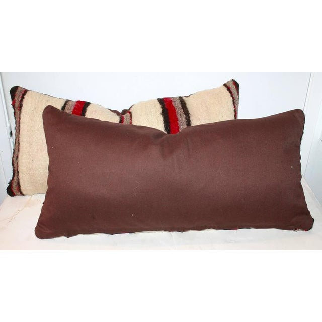Americana Pair of Handwoven Navajo Saddle Blanket Pillows For Sale - Image 3 of 4