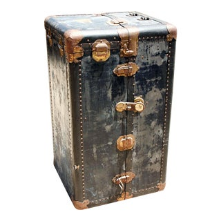 1800s Antique Campaign Style Steamer Navy Trunk For Sale