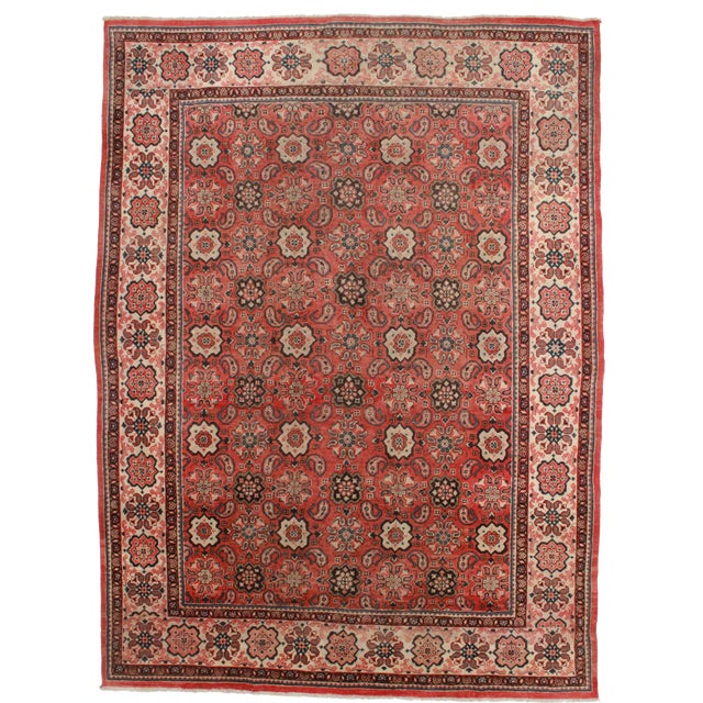 RugsinDallas Vintage Hand Knotted Wool Persian Mahal Rug - 9′3″ × 12′6″ For Sale