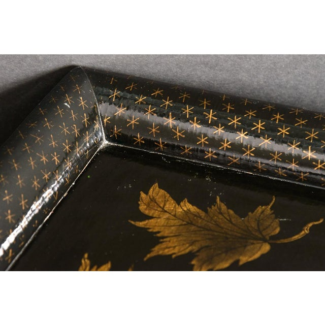 Asian Black Lacquer Wood Cocktail Table With Hand Painted Gold Florals For Sale - Image 10 of 13