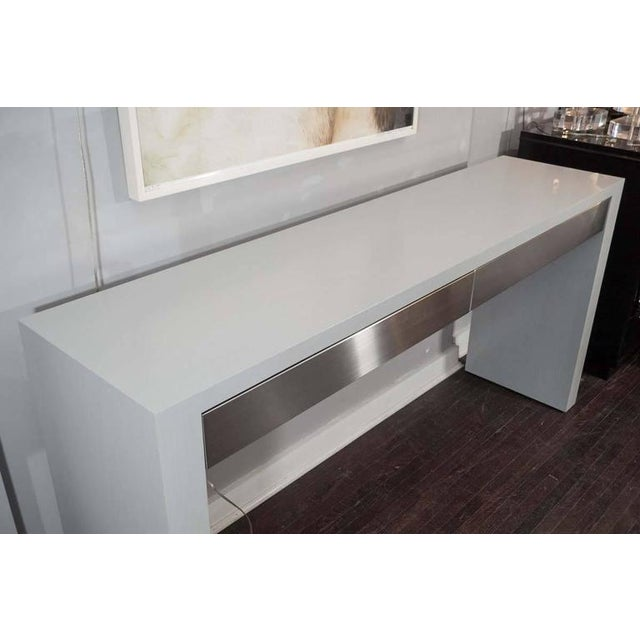 2010s Custom Gray Stained Console with Brushed Stainless Steel Drawers For Sale - Image 5 of 7