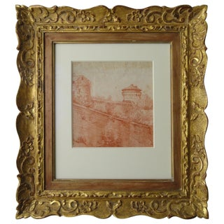 Late 18th Century Antique Red Chalk Pastoral Scene Framed Drawing For Sale