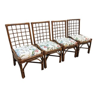 Vintage Boho Chic Rattan Dining Chairs - Set of 4 For Sale