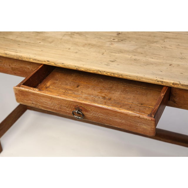 Metal Faux-Grain Painted French Farm Table For Sale - Image 7 of 13