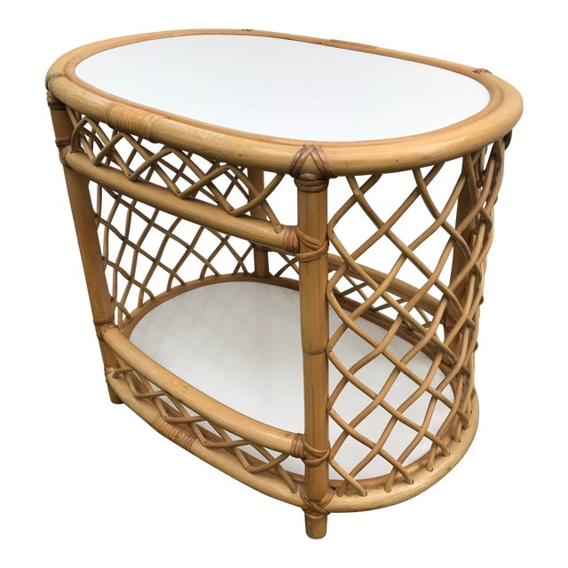 WIllow and Reed Oval Bamboo Side Table For Sale