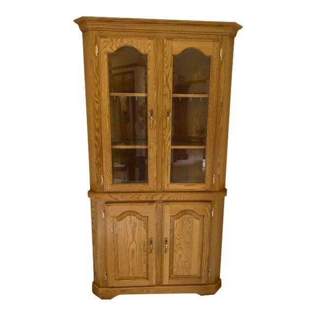 Solid Oak Corner Display Cabinet For Sale