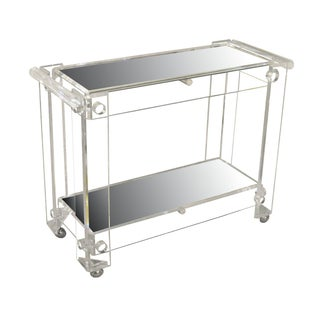 Lucite Rolling Cart with Two Mirrored Shelves For Sale