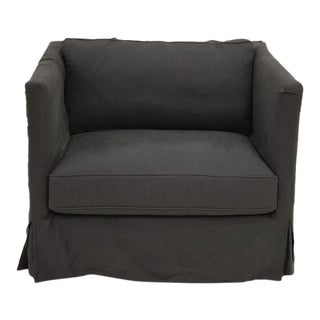 Modern Charcoal Linen Slipcovered Lounge Chair For Sale