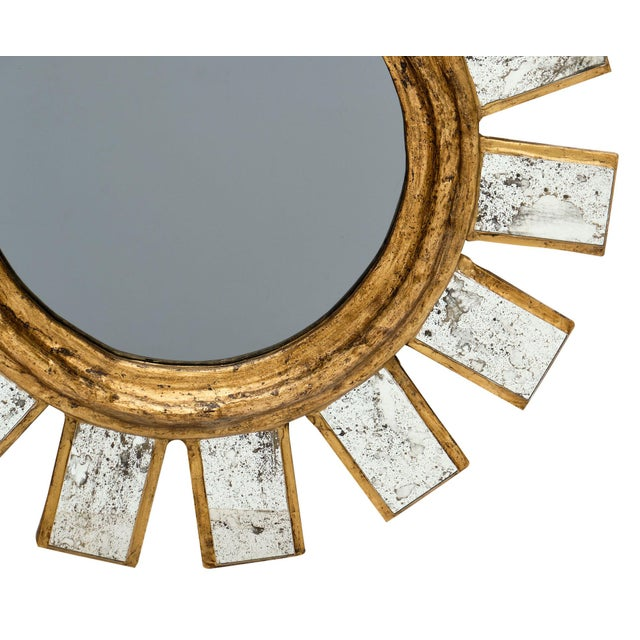 Wood French Sunburst Mirror For Sale - Image 7 of 11