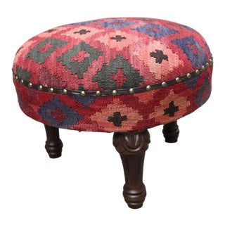 Vintage Handmade Kilim Round Foot Stools / Ottoman For Sale