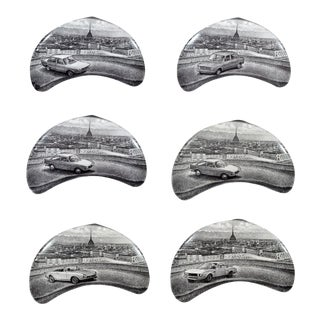 Piero Fornasetti Demilune Porcelain Dishes With Vintage Fiat and the City of Turin - Set of 6 For Sale