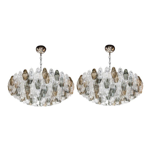 Pair of Spectacular Handblown Murano Glass Polyhedral Chandeliers by Venini For Sale