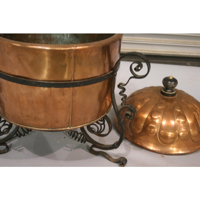 Fabulous Large Copper Cauldron or Vessel with Stand