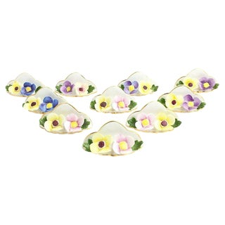 Vintage Mid-Century Floral Place-Card Holders - Set of 10 For Sale