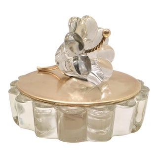 Italian Crystal and Brass Lidded Catchall