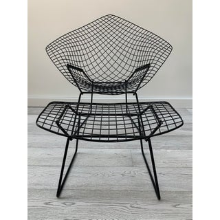 Late 20th Century Harry Bertoia for Knoll Black Diamond Wire Chair & Ottoman Preview