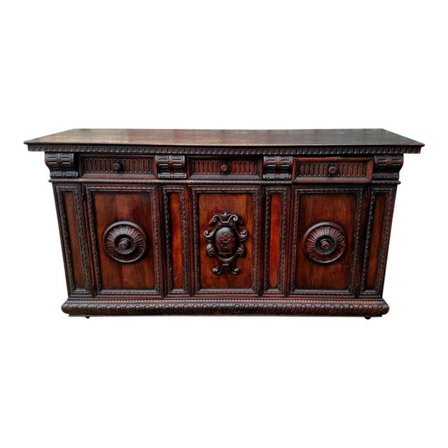 19th C. Renaissance Revival Figural Carved 3 Door Sideboard Server - Image 1 of 10