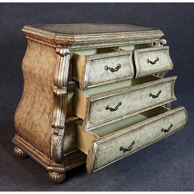 Large Italian Rococo Style Leather Top Commode For Sale - Image 4 of 9