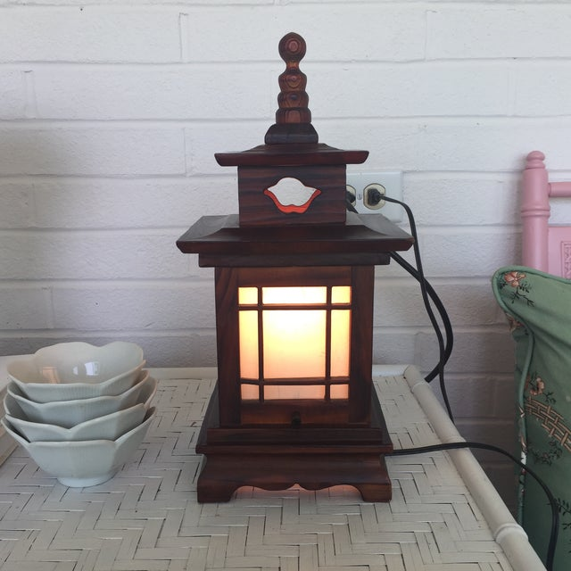 Antique Carved Wood Asian Chinoiserie Pagoda Lantern Light Lamp For Sale - Image 9 of 11