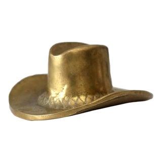 Mid-Century Brass Cowboy Hat Figurine For Sale