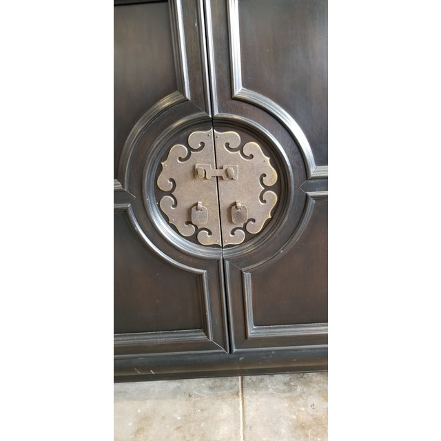 Vintage Century Furniture Black Dry Bar Cabinets With Brass Hardware - a Pair For Sale In Los Angeles - Image 6 of 9