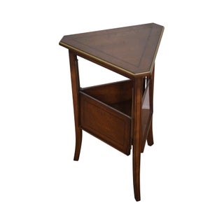 Regency Directoire Triangle Side Table W/ Expandable Shelf For Sale