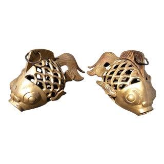 Vintage Iron Koi Fish Lanterns - a Pair For Sale