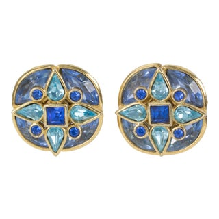 Yves Saint Laurent Paris Signed Blue Jeweled Clip-On Earrings For Sale