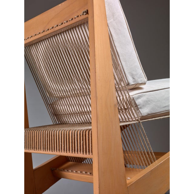 Fabric Rope Sling Lounge Chair in the Manner of Albert Frey, USA, 1950s For Sale - Image 7 of 8