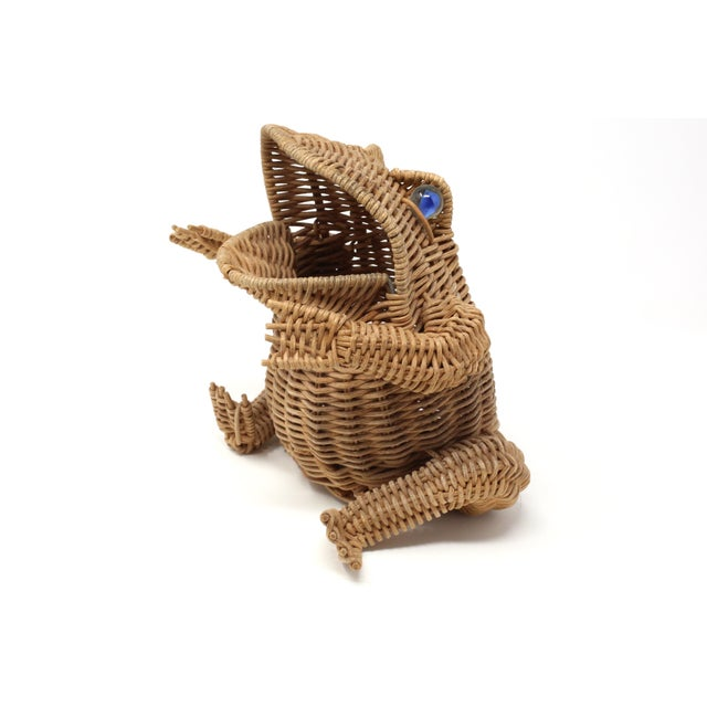 Wicker Vintage Wicker Frog Basket With Glass Marble Eyes For Sale - Image 7 of 11
