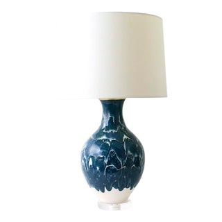 """Paul Schneider Ceramic """"Athens"""" Lamp in Drip Banded Teal Glaze For Sale"""