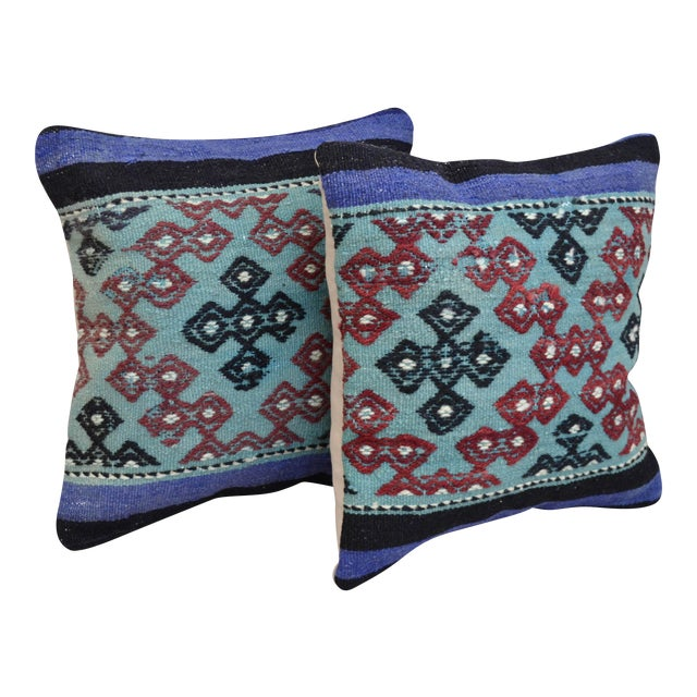 Vintage Turkish Kilim Pillow Covers - A Pair For Sale