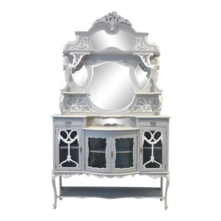 Vintage Victorian White Display Sideboard
