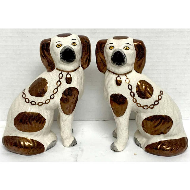 Victorian 19th Century Staffordshire Diminutive Copper Luster Dogs - a Pair For Sale - Image 3 of 10